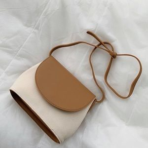 Tan and brown women's leather crossbody bag